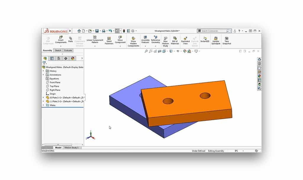 SOLIDWORKS Misaligned mates tutorial