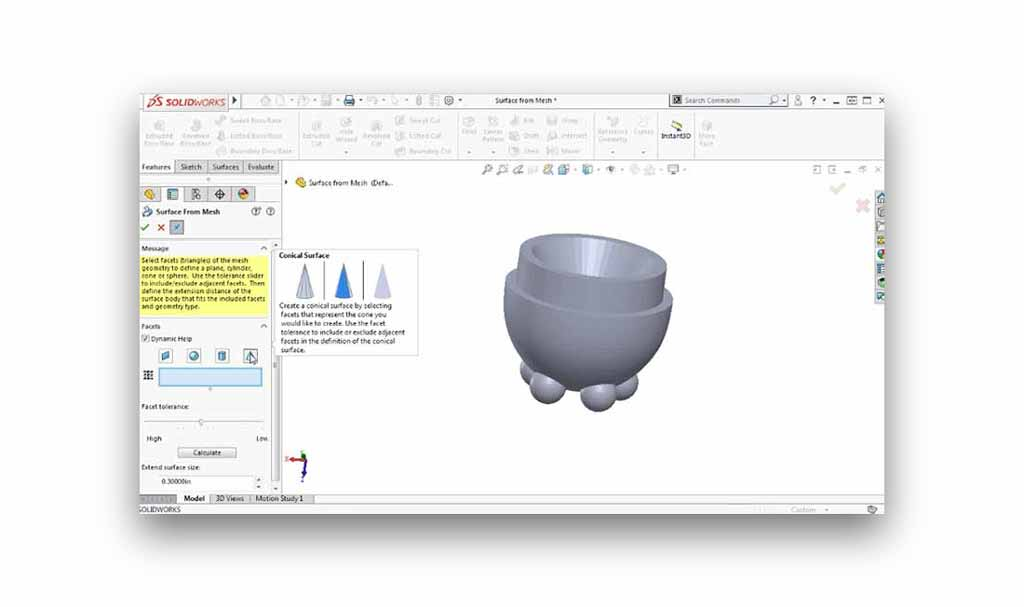 SOLIDWORKS Surfaces from mesh geometry tutorial