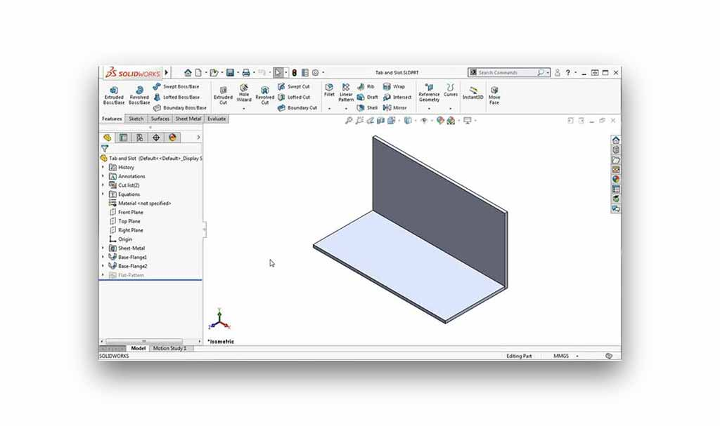 SOLIDWORKS Tab and slot tutorial