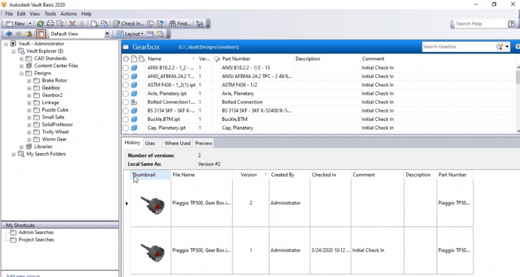 Browsing different file versions in Autodesk Vault