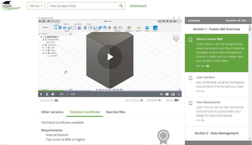SolidProfessor fusion 360 tutorial screenshot