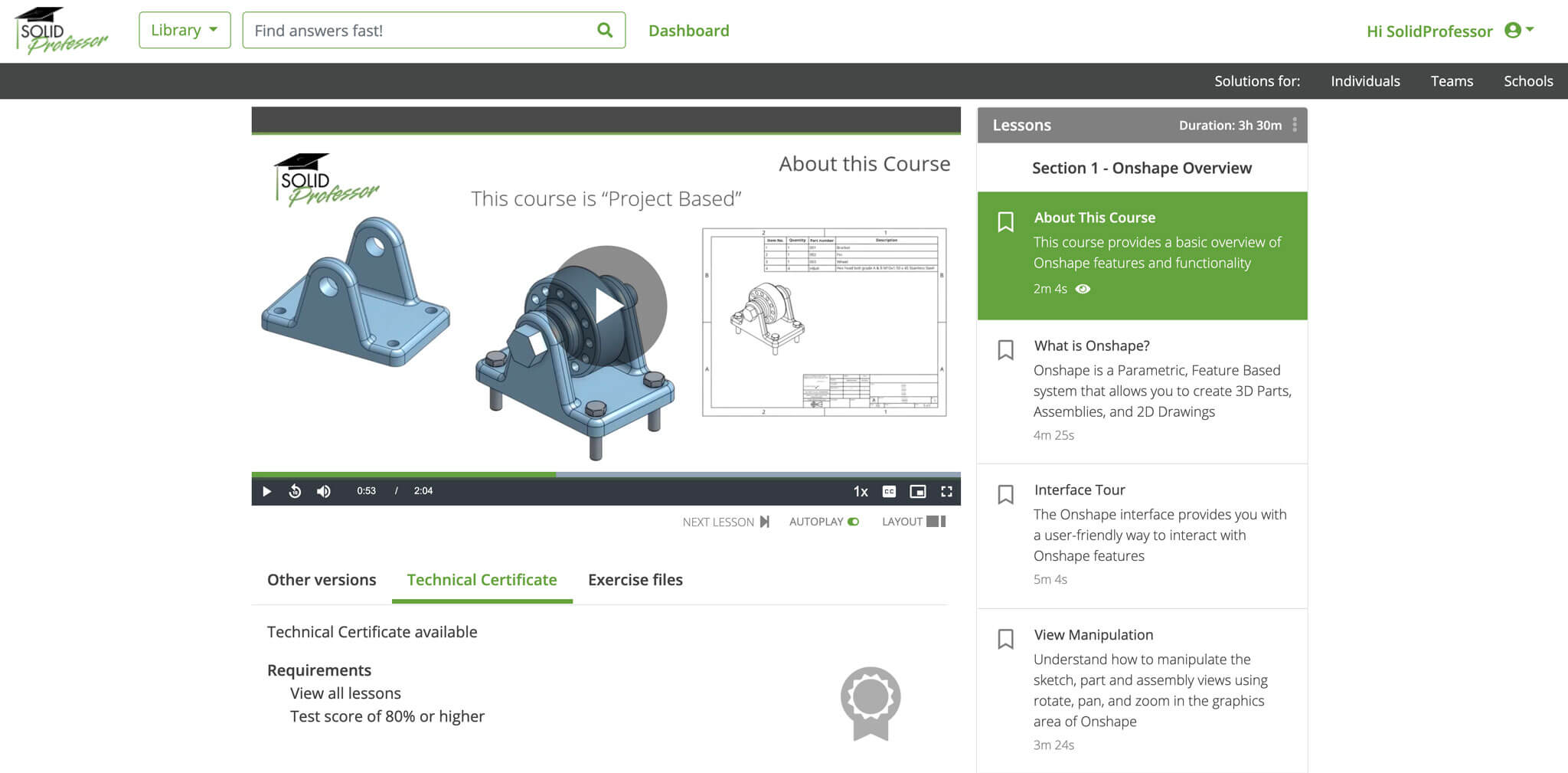 Onshape Beginner to Certification Course Preview