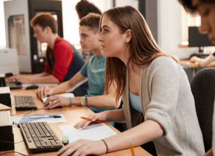 Students-in-computer-lab-taking-a-certification-exam